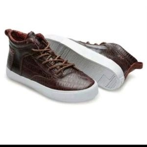 TOMS CAMILA HIGH BROWN CROC LEATHER Sneakers